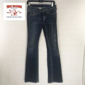 True Religion Boot Cut Denim Blue Jeans, 25